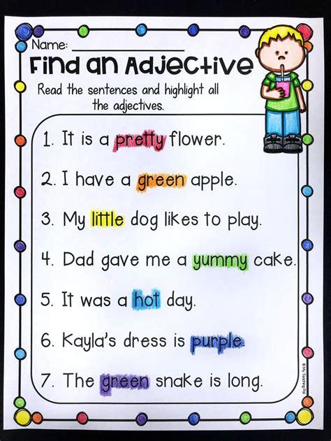 grammar worksheet packet nouns adjectives  verbs
