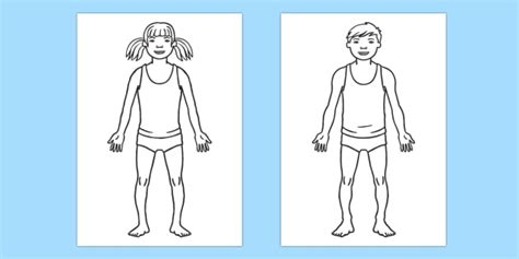 Human Body Outline Boy And Girl