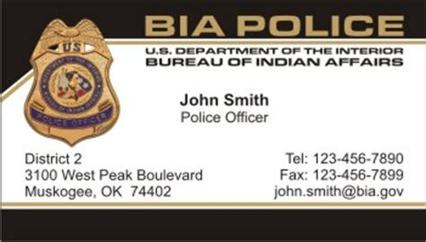 federal bureau of indian affairs policebusinesscards com display business cards