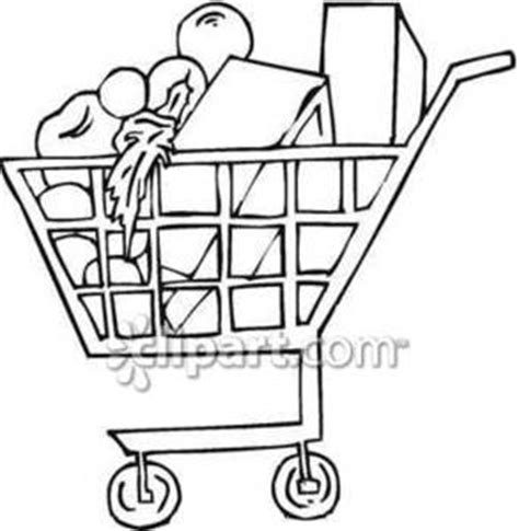 grocery clipart black and white a grocery cart of food royalty free clipart picture
