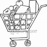 Clipart Grocery Supermarket Drawing Shopping Clip Royalty Getdrawings sketch template