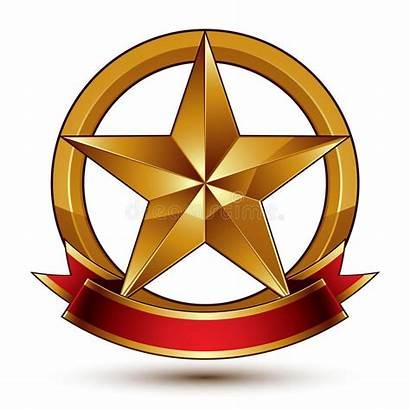 Pentagonale Gouden Ster Symbool Gestileerde Glanzende Gemerkt