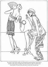 Coloring Roaring Twenties Pages Dover Publications Fashions Adult Flappers Template Doverpublications sketch template