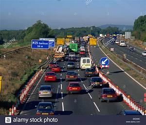 Roadworks causing traffic jam on the M25 England UK R ...