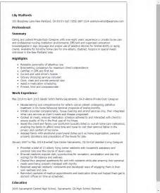 resume exles for caregivers sle resume for caregiver duty caregiver