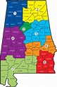 County Map Of Alabama | Time Zone Map