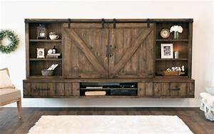 wall mounted floating tv stands woodwaves With barn door style entertainment center
