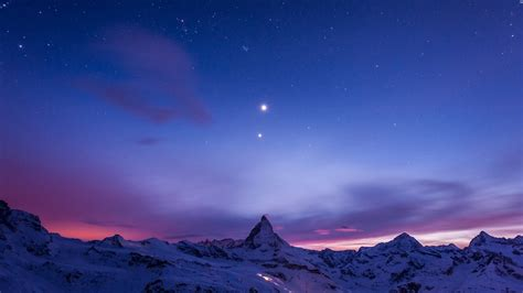 Beautiful Night View Of Snow Mountain Windows 10 Wallpaper