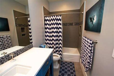 curtain ideas for bathroom shark themed bathroom with navy blue and white chevron