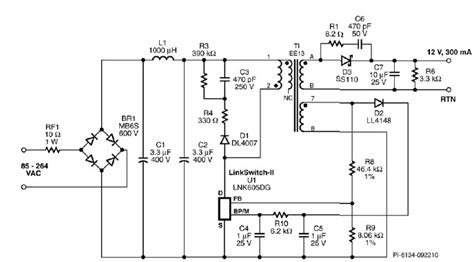 gu10 led light bulbs driver using lnk605dg circuit diagram