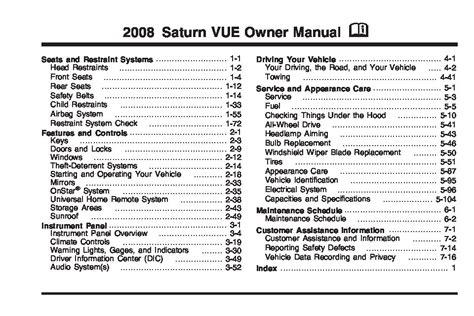 saturn vue owners manual  give   damn manual