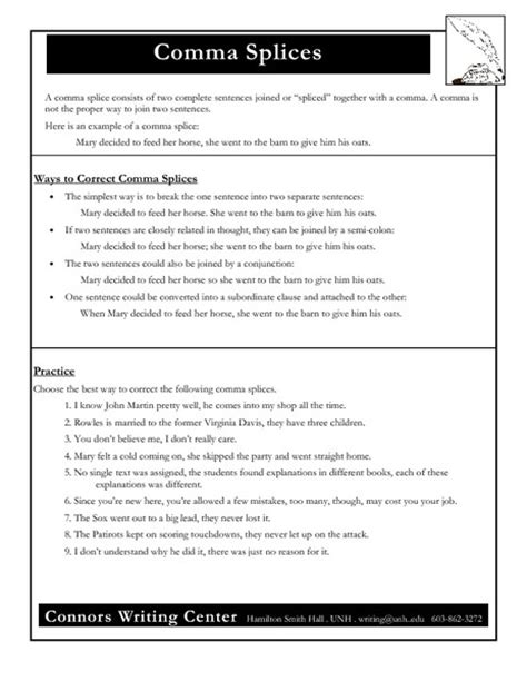 Comma Splice Worksheet With Answers  Kidz Activities
