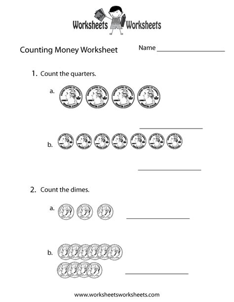 easy counting money worksheet  printable educational