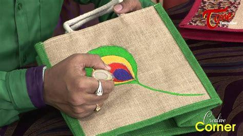 creative corner   paint beautiful designs  jute bags youtube