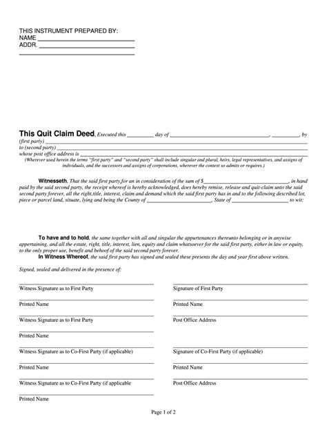 quit claim deed florida fill  printable fillable
