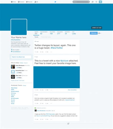 twitter graphic template free twitter 2014 gui new profile design psd at freepsd cc
