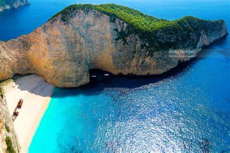 Navagio Beach Zakynthos Greece Also Known As The