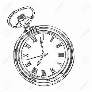 Pocket Watch Line Drawing Antique Stopwatch Stock Photos ...