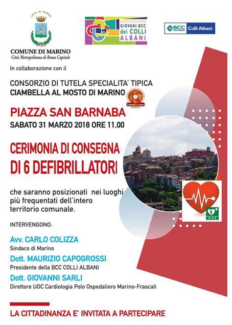 Comune Di Ariccia Ufficio Tecnico by Marino La Bcc Colli Albani Dona 6 Defibrillatori Al