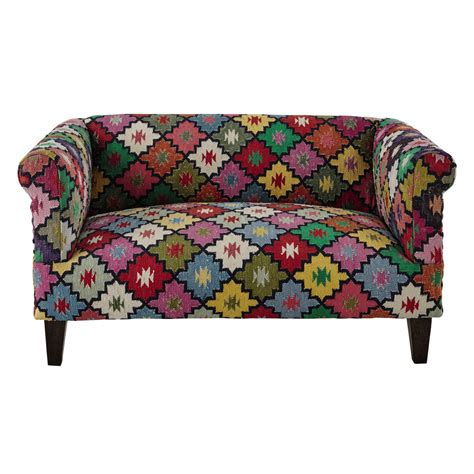 chambre ado lit 2 places canapé 2 3 places en tressage kilim multicolore arlequin