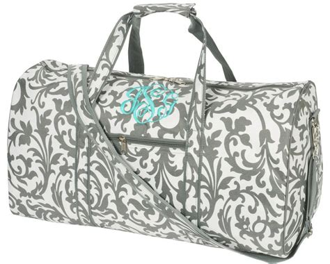personalized womens grey floral large duffle bag
