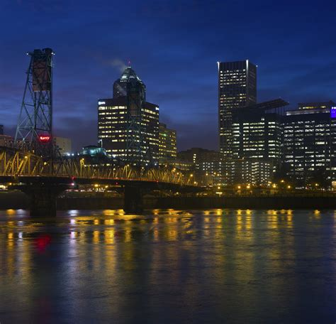 portland oregon downtown lights and fog photograph by