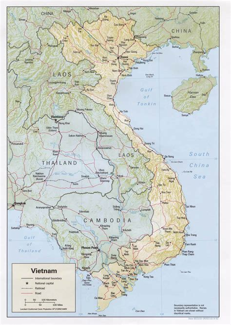 detailed road  relief map  vietnam vietnam detailed