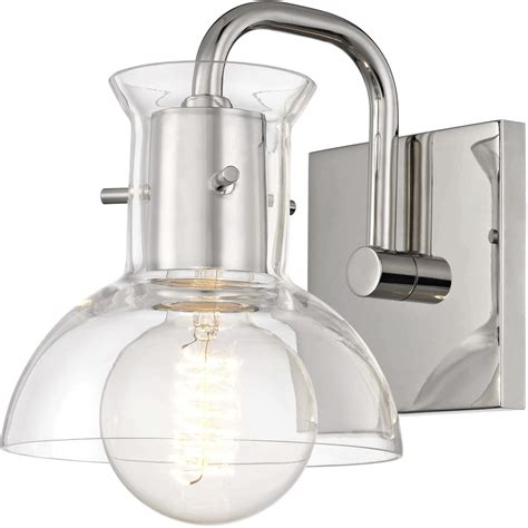 Polished Nickel Bathroom Lighting Fixtures by Bathroom Vanity 1 Light Bulb Fixture With Polished Nickel