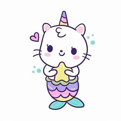 Kawaii Unicorn Mermaid Cartoon Cat Gato Desenhos