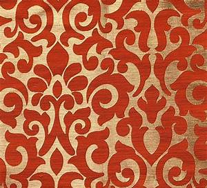 Red Patterned Curtain Material