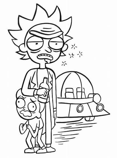 Morty Rick Coloring Fun Kleurplaat Malvorlage Ricky