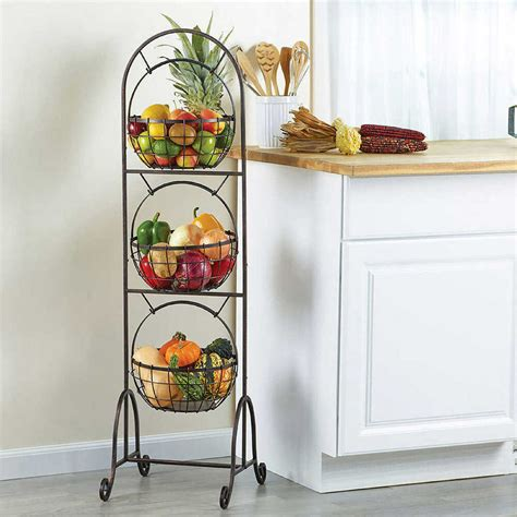 kitchen  tier wire basket standing organizer vegetable