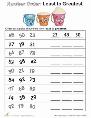 number order least to greatest worksheet education