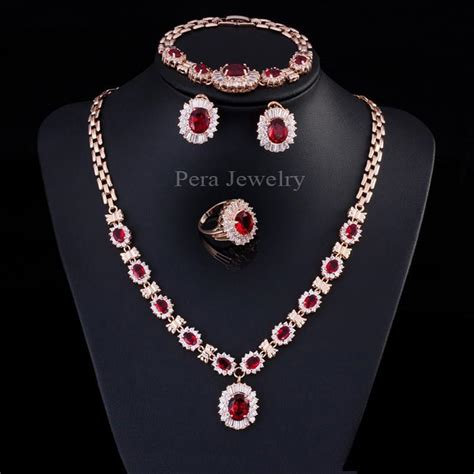 noble  gold filled ruby red cubic zircon diamond