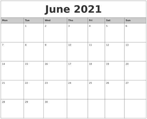 june  monthly calendar printable