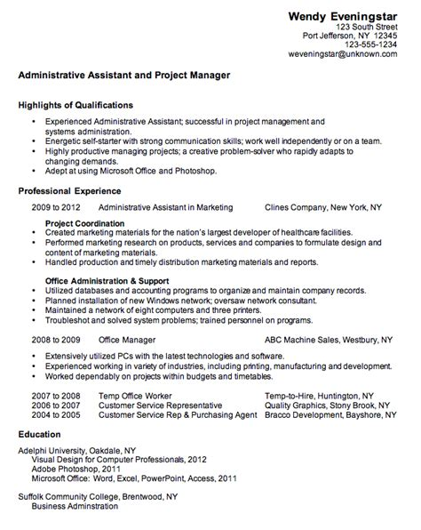 Resume Sle For Administrative Assistant by Combination Resume Sle For An Administrative Assistant