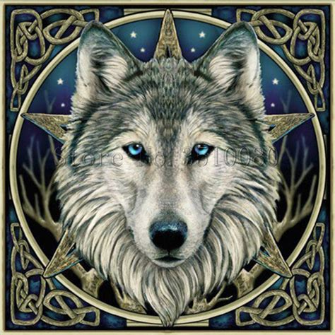 wolf head    frame room decor embroidery pattern