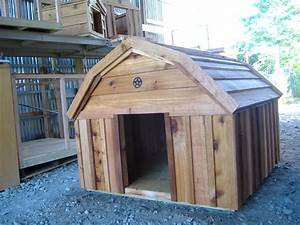 New custom barn style cedar dog house custom ac heated for Barn style dog house