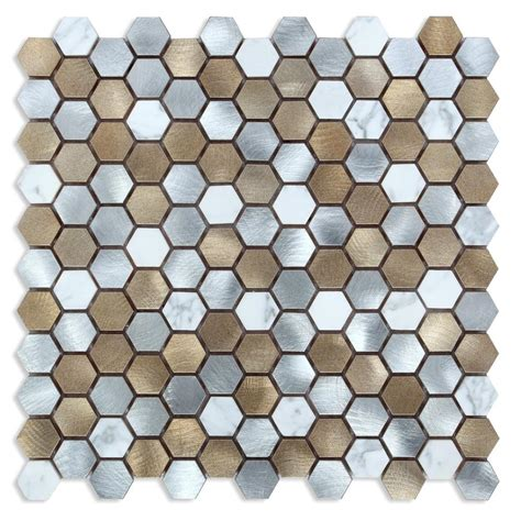 metallic kitchen backsplash chenx 11 81 in x 13 38 in x 8 mm aluminum metal glass 4101