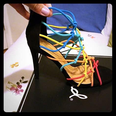 multi color strappy heels qupid shoes nib multi color strappy cage rainbow heels