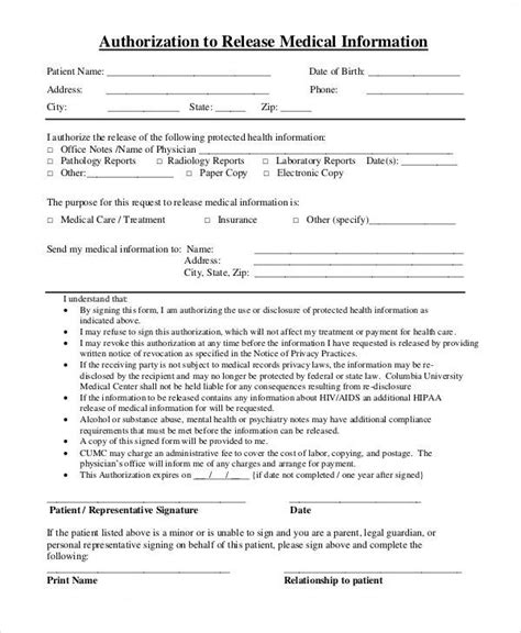 release of mental health records form 43 printable medical forms sle templates
