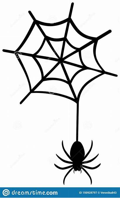 Spider Web Clipart Hanging Vector Silhouette Illustration