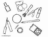 Makeup Coloring Pages Cosmetics Printable Adults sketch template