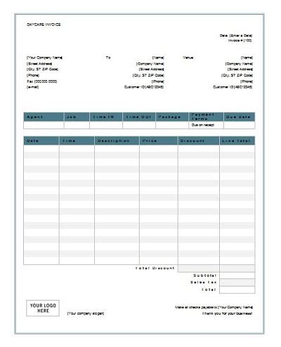 sample receipt  child care services  word
