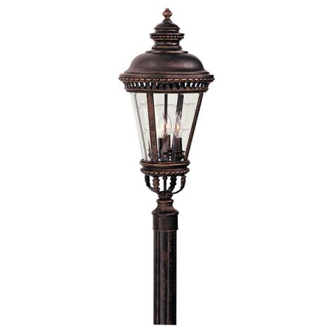 feiss castle 4 light grecian bronze outdoor post light