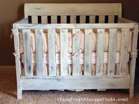 distressed baby crib crib in miss mustard seeds linen milk paint farm fresh