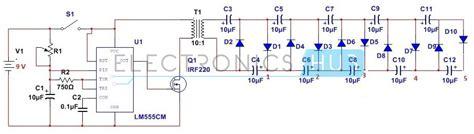 how to design stun gun circuit using 555 timer ic