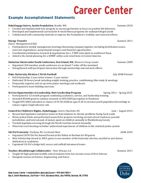 Accomplishments On Resume by Exle Accomplishment Statements