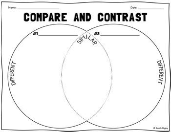 venn diagram compare contrast worksheet tpt