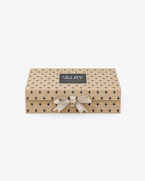 This mockup is available for purchase on yellow images only. Kraft Gift Box With Bow PSD Mockup Front View High-Angle ...